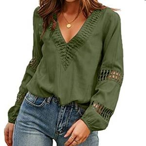 V neck long sleeve blouse with cut out details